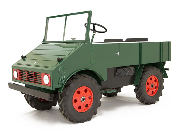 based on the mercedes 1948 unimog this rugged model easily accommodates adults and older kids